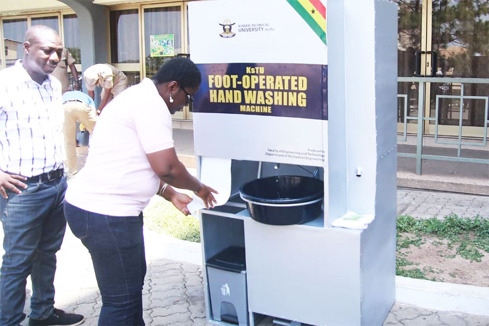 Kumasi Technical University Develops Foot-Operated Hand Washing Machine