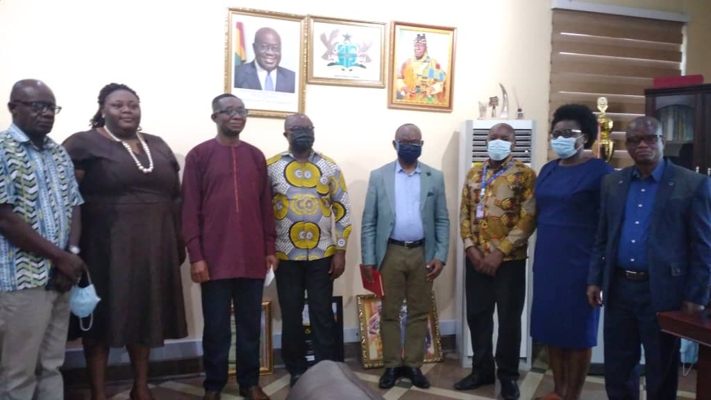 Picture: The Mayor of Kumasi (4th from left) with the VC (5thfrom left) together with other members for the meeting.