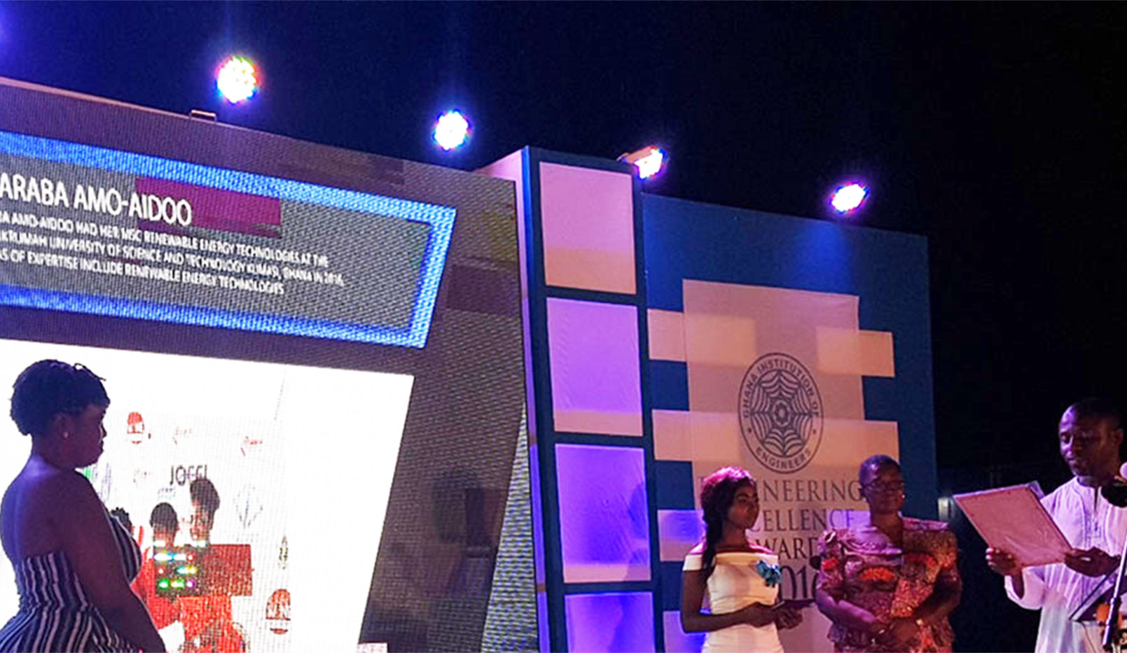 Picture shows: Ing.Araba Amo-Aido on stage receiving an award